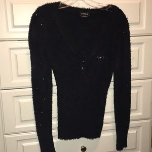 Bebe very soft sweater with rhinestones